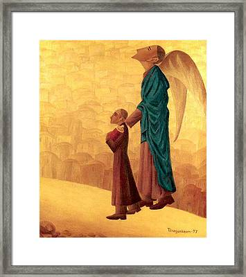 Boy Leading The Blind Angel Framed Print