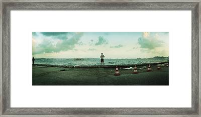 Boy Looking Out On The Bosphorus Framed Print by Panoramic Images