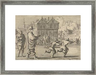 Boy Offends The Mayor Of Strasbourg By Stealing The Stick Framed Print by Jan Luyken And Pieter Van Der Aa I