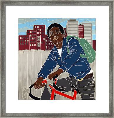 Boy On A Bike Framed Print