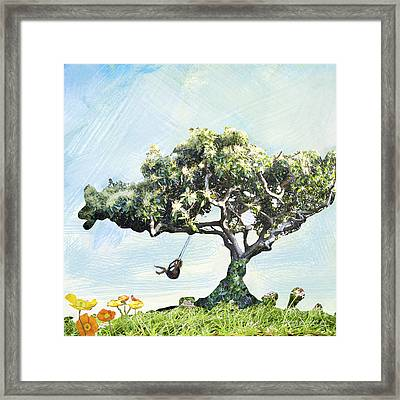Boy On A Swing Framed Print by Linde Townsend