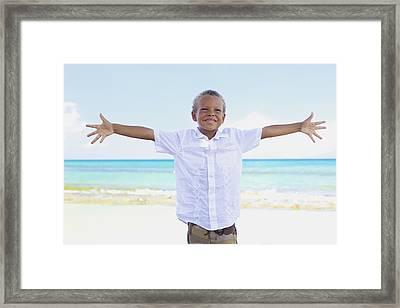 Boy On Beach Framed Print by Kicka Witte