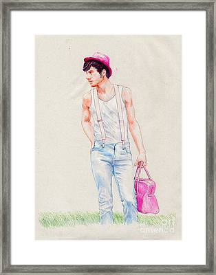Boy On The Edge Of A Road Framed Print by Line Arion