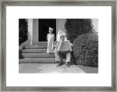 Boy Playing Accordian On Steps Framed Print