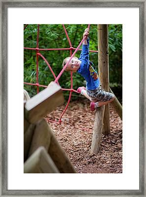 Boy Playing On Climbing Frame Framed Print