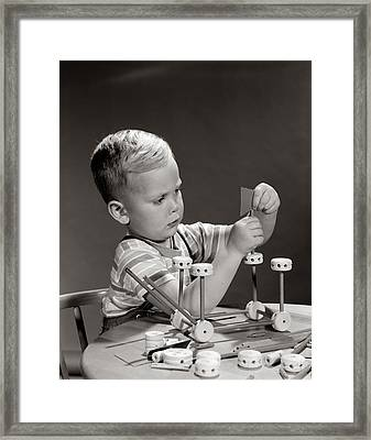 Boy Playing With Tinker Toys, C.1960s Framed Print by H. Armstrong Roberts/ClassicStock