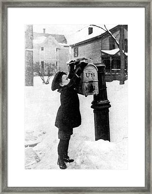 Boy Puts Letter Into Mailbox, C. 1880 Framed Print by Photo Researchers