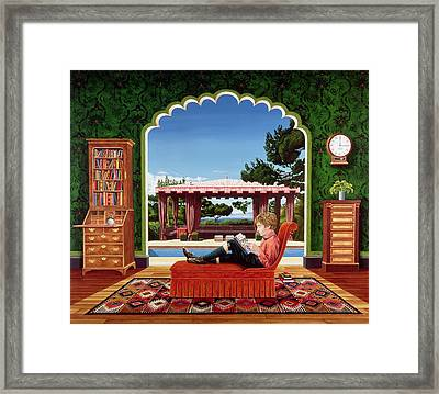 Boy Reading Framed Print