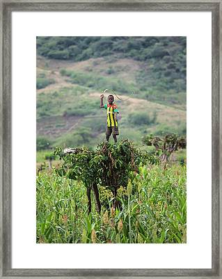 Boy Scaring Birds With Whip Framed Print by Peter J. Raymond