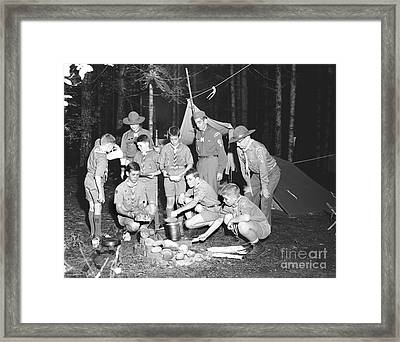 Framed Print featuring the photograph Boy Scouts Campout 1962 Ca by Merle Junk