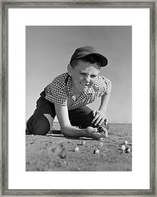 Boy Shooting Marbles, C.1950-60s Framed Print