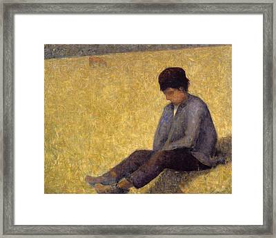 Boy Sitting On The Grass, C.1882 Oil Framed Print by Georges Pierre Seurat