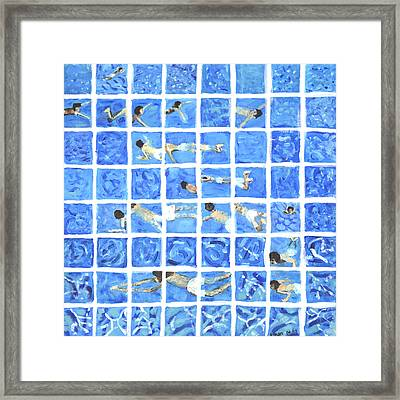 Hockney Inspired Painting Of Boy Swimming In Swimming Pool Framed Print by Ethan Altshuler