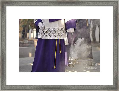 Boy Waving The Incense Vase During Procession Framed Print by Perry Van Munster