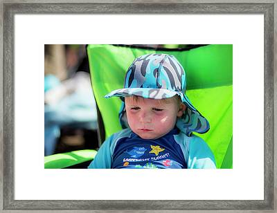 Boy Wearing A Sun Hat And Uv Clothing Framed Print
