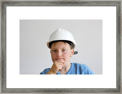 Boy Wearing Hard Hat Framed Print by Gombert, Sigrid