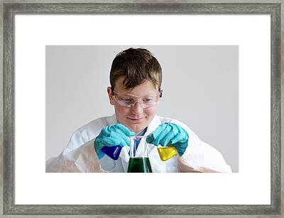 Boy Wearing Protective Goggles Framed Print by Gombert, Sigrid
