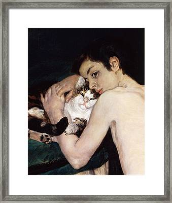 Boy With A Cat Framed Print