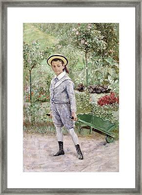 Boy With A Wheelbarrow Framed Print