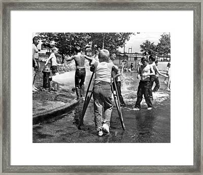 Boy With Broken Leg Framed Print