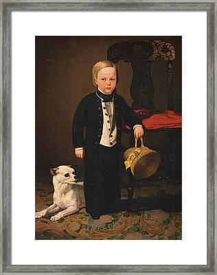 Boy With Dog Framed Print by Charles C Nahl