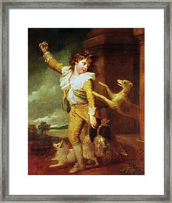 Boy With Dogs Oil On Canvas Framed Print