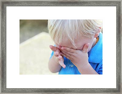 Boy With His Head In His Hands Framed Print by Ruth Jenkinson