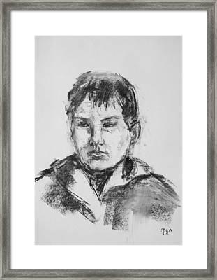 Boy With Hooded Jacket Framed Print by Barbara Pommerenke