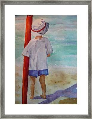 Boy With Noodle Framed Print