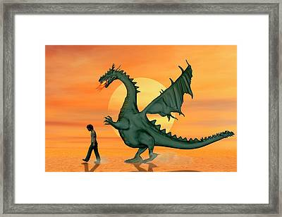 Boy With Pet Dragon Framed Print by Carol & Mike Werner