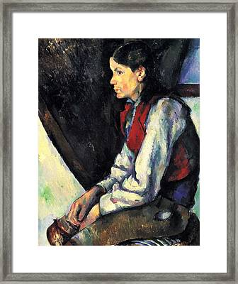 Boy With Red Vest By Cezanne Framed Print by John Peter