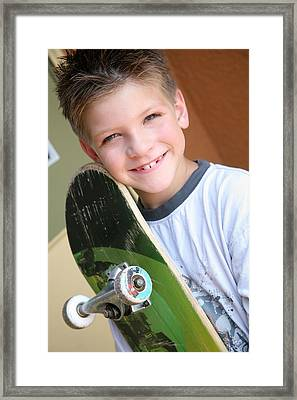 Boy With Skateboard Framed Print by Colleen Cahill