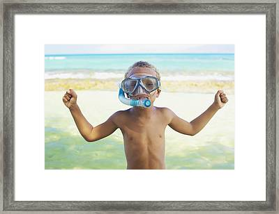 Boy With Snorkel Framed Print by Kicka Witte