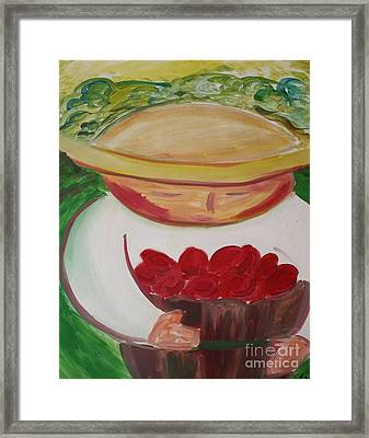 Boy With Strawberries Framed Print by Teresa Hutto