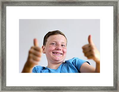 Boy With Thumbs Up Framed Print by Gombert, Sigrid