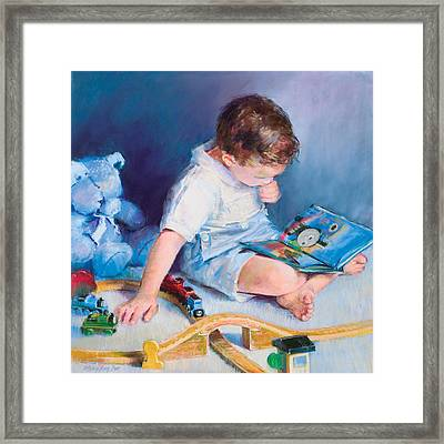 Boy With Train Framed Print by Beverly Amundson