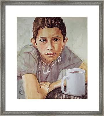 Boy With White Cup Framed Print by Jeff Chase