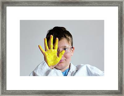 Boy With Yellow Paint On Hand Framed Print by Gombert, Sigrid
