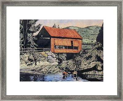 Boys And Covered Bridge Framed Print by Joseph Juvenal
