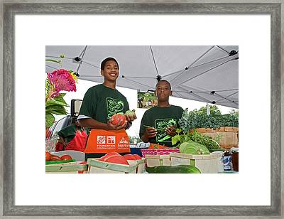 Boys At A Farmers Market Framed Print by Jim West