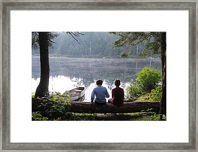 Boys At Beebe Pond Framed Print by Paul Miller