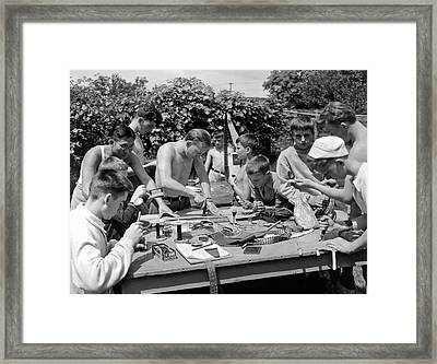 Boys At Summer Camp Framed Print
