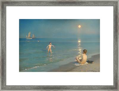 Boys Bathing At Skagen Framed Print by Mountain Dreams