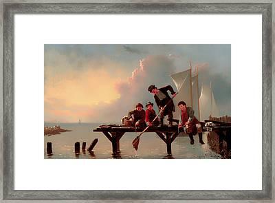 Boys Crabbing Framed Print by Mountain Dreams