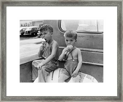 Boys Eating Ice Cream Cones Framed Print