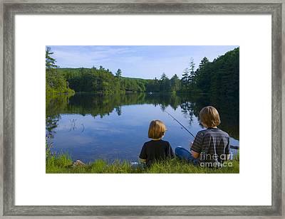 Boys Fishing Framed Print