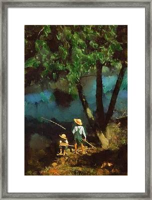 Boys Fishing In A Bayou Framed Print by Kai Saarto