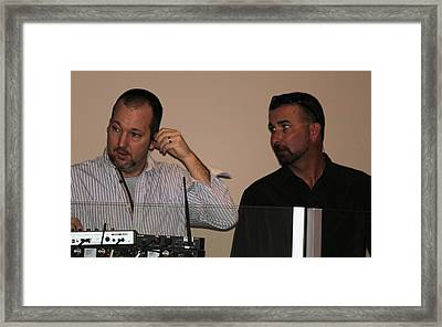 Boys In The Control Booth Framed Print by Carolyn Ricks