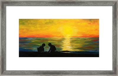 Boys In The Sunset Framed Print