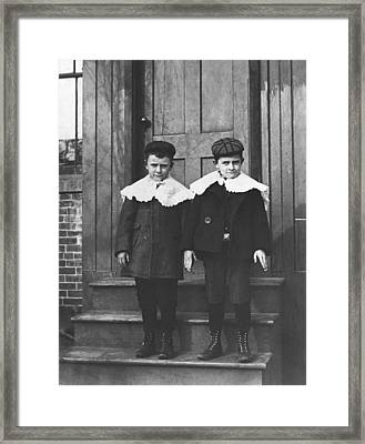 Boys In Their Sunday Best Framed Print by Underwood Archives